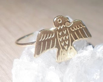 Thunderbird Ring, Bird Totem Ring, Spirit Animal, Southwestern rings, gold rings, gold midi ring, gold stacking ring, boho ring, festival
