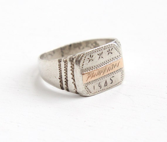 vintage sterling silver philippines 1945 ring 1940s