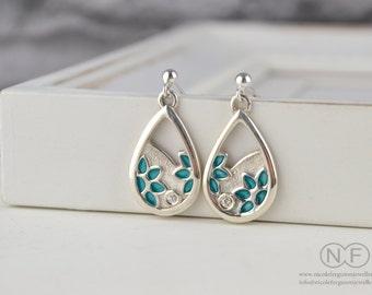 Sterling Silver Flower Enamel Earrings