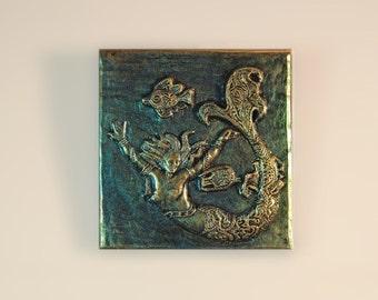 Mermaid Wall Plaque Stone Sculpture, Handmade Art Mermaid, Beach Art, Ocean Bathroom Decor