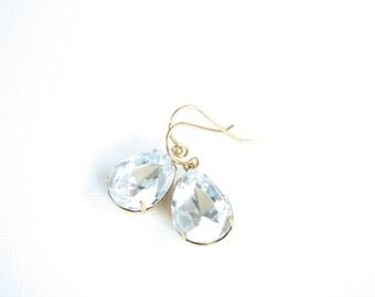Clear Crystal Dangle Earrings Vintage Glass Antiqued Gold Brass Boho Bohemian Teardrop Crystal Earrings