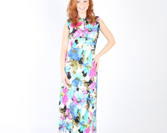 Hawaiian Dress Gown 1970s 1960s Vintage 60s 70s Dress M Medium L Large  Floral Empire Waist Sleeveless