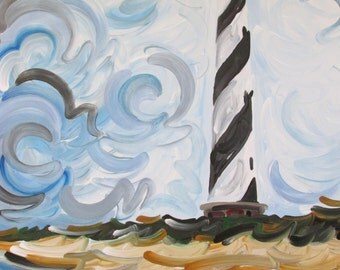 30x24 Cape Hatteras Lighthouse Painting by Justin Patten Art North Carolina Outer Banks Beach Buxton Sand