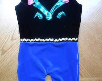 Disney inspired Princess Anna Frozen leotard, biketard or swimsuit- sleeveless. For dance, gymnastics, swimming etc.