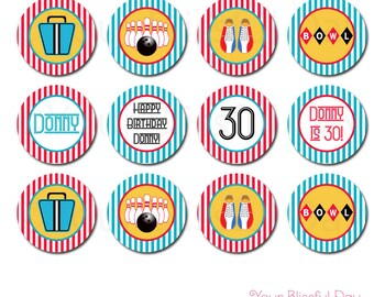 PRINTABLE Retro Bowling Party Circles (Personalized) #112