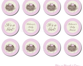 Nest Baby Shower Party Circles | PRINTABLE Nest Baby Shower Cupcake Toppers | Nest Baby Shower Stickers #208