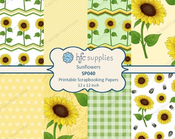 Sunflowers Digital Papers - printable scrapbook paper 12x12 inch, yellow flower, patterned paper - Digital Instant Download SP040
