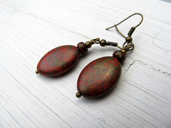 Red Oval Drop  Earrings with Czech Glass Antique Brass Dangles