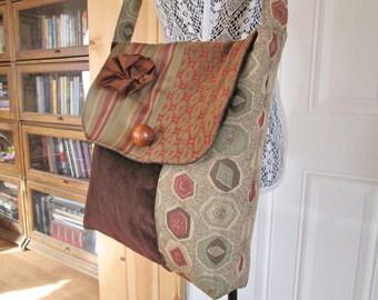 Large Boho Gypsy Tapestry Velvet Messenger Bag