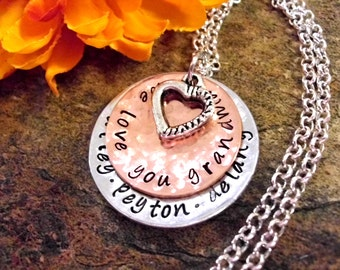 Grandma Jewelry, Grandma Necklace, Personalized Jewelry, Hand Stamped Jewelry, Grandma Gift, Jewelry for Grandma, We Love You Grandma