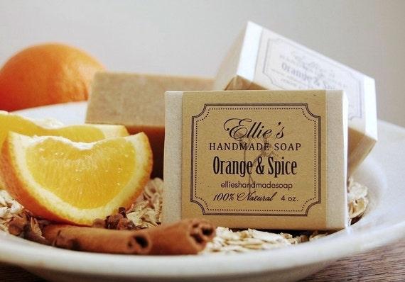 Orange & Spice Soap - 100% Natural, Cold Process, Olive Oil Handmade Soap