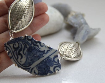 Antique Shard, Silver Origami Bead, and Chalcedony Asymmetric Statement Necklace