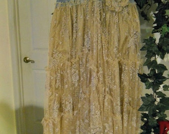 Belle Bohémienne ballroom jean skirt exquisite vintage lace ruffled fairy rose pin rhinestones Renaissance Denim Couture  Made to Order