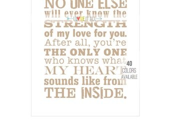 Typography Oversized Art Print . No One Else Will Know My Heart Sounds Like . Children's Nursery Love Subway Art Print . 8x10 11x14 13x19
