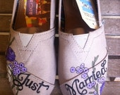 Custom Hand  Painted Toms Design, Just Married wedding shoes