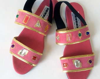 Deadstock Pink Jeweled Flat Sandal size 6 Copy