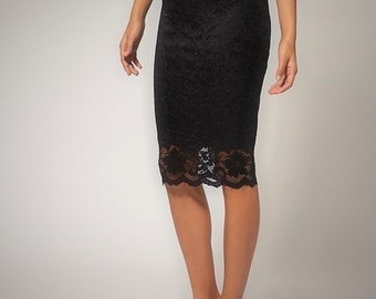 Knee length black lace pencil skirt, No closure slip on skirt High quality lace High fashion