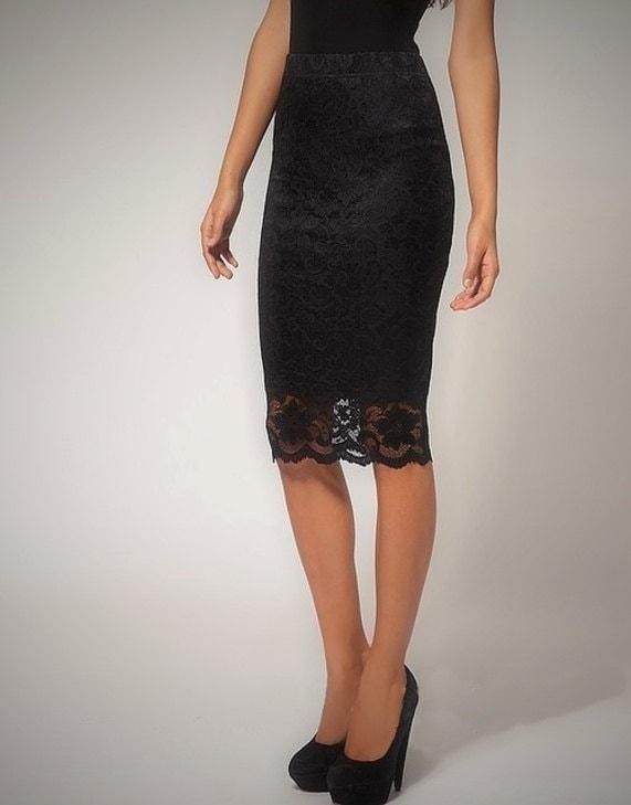 knee length black lace pencil skirt no closure slip on skirt