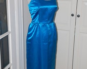 60s Wiggle Dress, Satin, Sky Blue, Cocktail, Bridesmaid, Party, Size Small