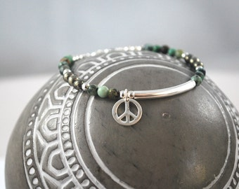 PYRITE, TURQUOISE + Peace 925 Silver Bracelet Healing Peace sign silver bracelet Turquoise gems for anxiety relief, calm, luck + friendship