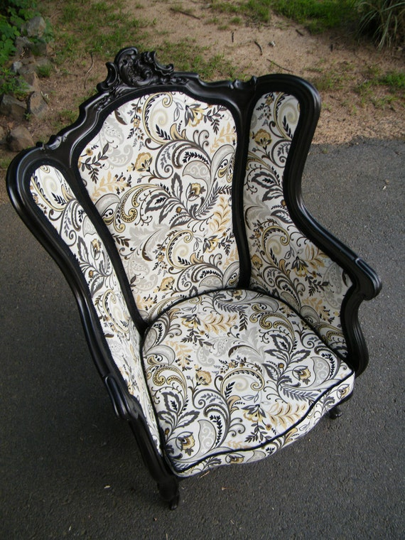 Reserved For D C Vintage Wingback Chair Upcycled By