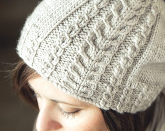 KNITTING PATTERN PDF file for cabled slouchy hat for girls and women