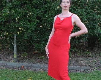 red stretch low-back dress cowl-neck style in bamboo-spandex jersey