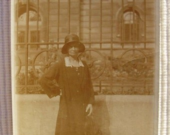 Vintage 1920's French Photo - Woman Stood Outside with Parasol or Umbrella