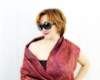Felted Wool Shawl Red Silk Scarf Merlot Wool Scarf Burgundy Wool Scarf Red Shawl
