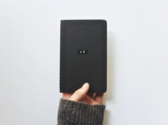 The 42 Notebook - HHGTTG Black Pocket Journal - Hitchhiker's Guide Field Notebook