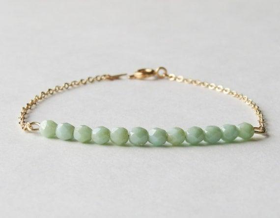 Opaque Seafoam & gold chain bracelet-Seafoam beaded bracelet.