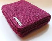 Scarf in Cerise Pink Aran Tweed Wool