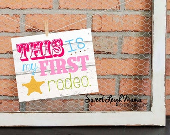 This IS My First Rodeo Party Printable Plus Solid Background Logo for use w T-Shirt Transfer - Girl Colors - Matches Wild West Theme