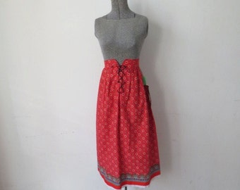 Vintage 70s Never Worn Red Lace Up Peasant Prairie Skirt with Original Tags! S