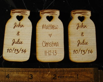 25 Mason Jar Wedding favors Personalized Wood Cut out Mason Jar Favor