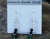 Black onyx and green aventurine agate earrings semiprecious stone jewelry packaged in a colorful gift bag 2545