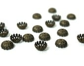 brass bead caps, antique gold plated, fancy filigree design for 8mm beads (855BC)
