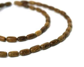 Wood Beads, 8mm x 4mm rice brown woodgrain, full strand (969R)