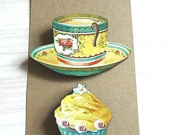 Now 50% OFF - Tea and Cake Pin/Brooch Set of 2