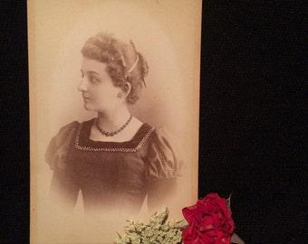 Cdv Antique  Photo Girl of Strassburg Austria