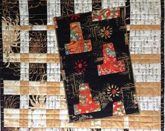 Small Quilt, Asian Inspired Art, Kimono Quilt, Fiber Art, Black Gold Red Cream Art, Wall Hanging, Quiltsy Handmade