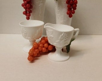 Vintage Colony Milk Glass Cream and Open Sugar bowl with grape motif