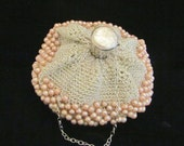 Vintage Silver Gate Top Purse Crocheted Faux Pearl Accordion Bag Circa 1930s VERY RARE