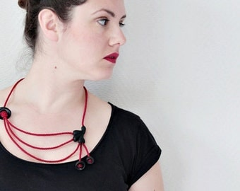 Contemporary Rope Necklace- Red Black with Abstract Organic Forms-egst