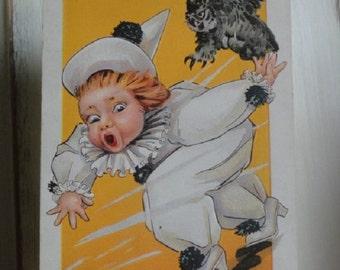 Halloween postcard, vintage postcard, vintage Halloween, Halloween witch, vintage ephemera, Owl postcard, Halloween Owls