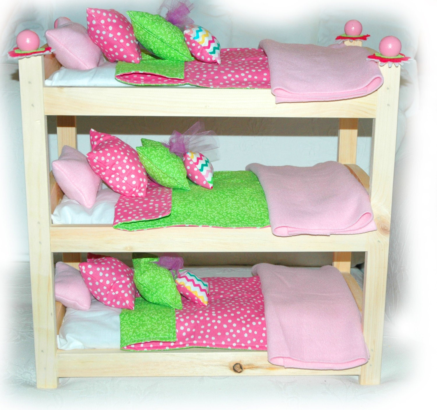 Bunk Bed Dolls: Triple Doll Bunk Bed Customize Cotton Candy American Made