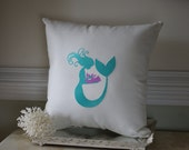 Embroidered Mommy Mermaid and Baby Mermaid Pillow on Linen Fabric - 16x16 Pillow