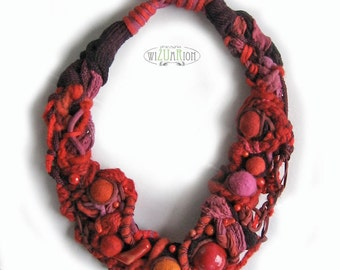 Red necklace textile necklace knot