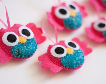 Set of 5 PINK & TEAL Blue Sparkle Felt with Fabric Owl Ornaments Baby Shower Party Favors/DIY Mobile