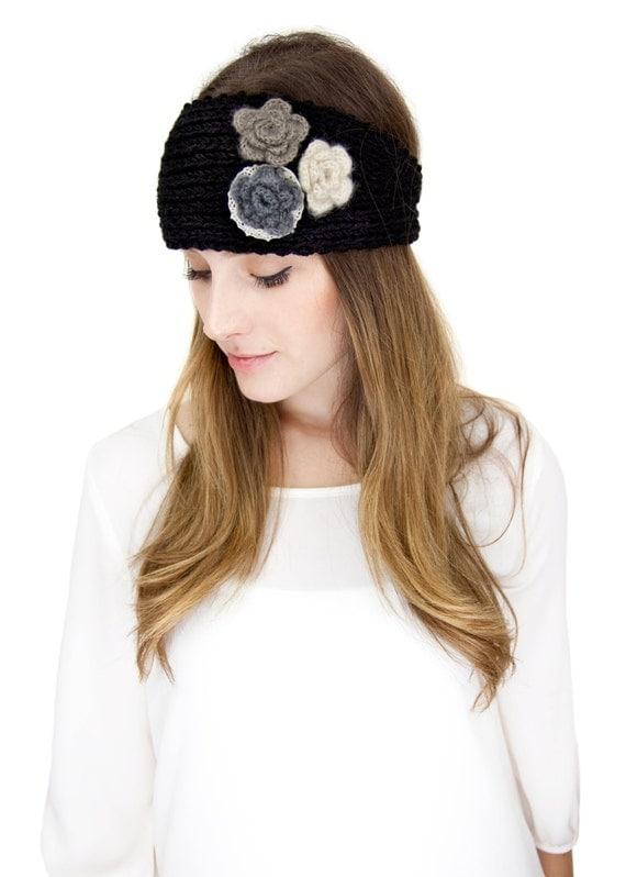 Knit Headband Pattern Button Closure : BLACK FLORAL KNIT headband metal button closure adjustable